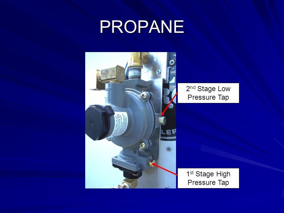 PROPANE 1 st Stage High Pressure Tap 2 nd Stage Low Pressure Tap