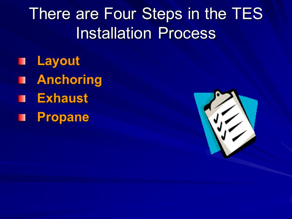 There are Four Steps in the TES Installation Process LayoutAnchoringExhaustPropane