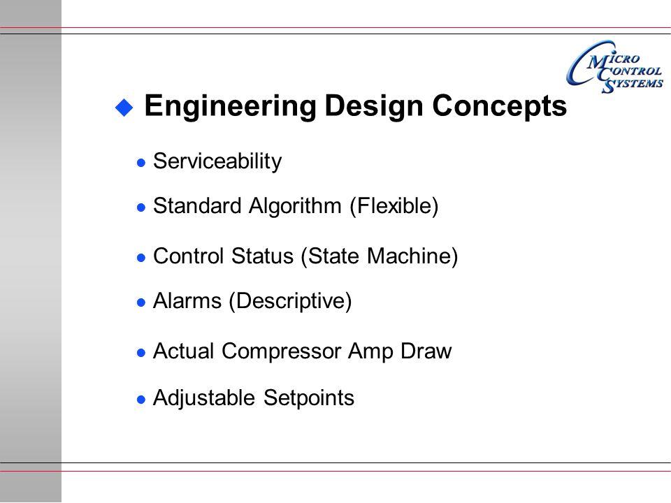 u Engineering Design Concepts l Standard Algorithm (Flexible) l Control Status (State Machine) l Alarms (Descriptive) l Actual Compressor Amp Draw l Adjustable Setpoints l Serviceability