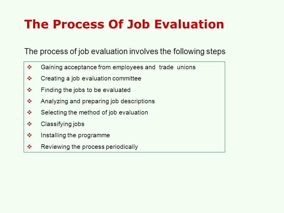The Process Of Job Evaluation  Gaining acceptance from employees and trade unions  Creating a job evaluation committee  Finding the jobs to be eval