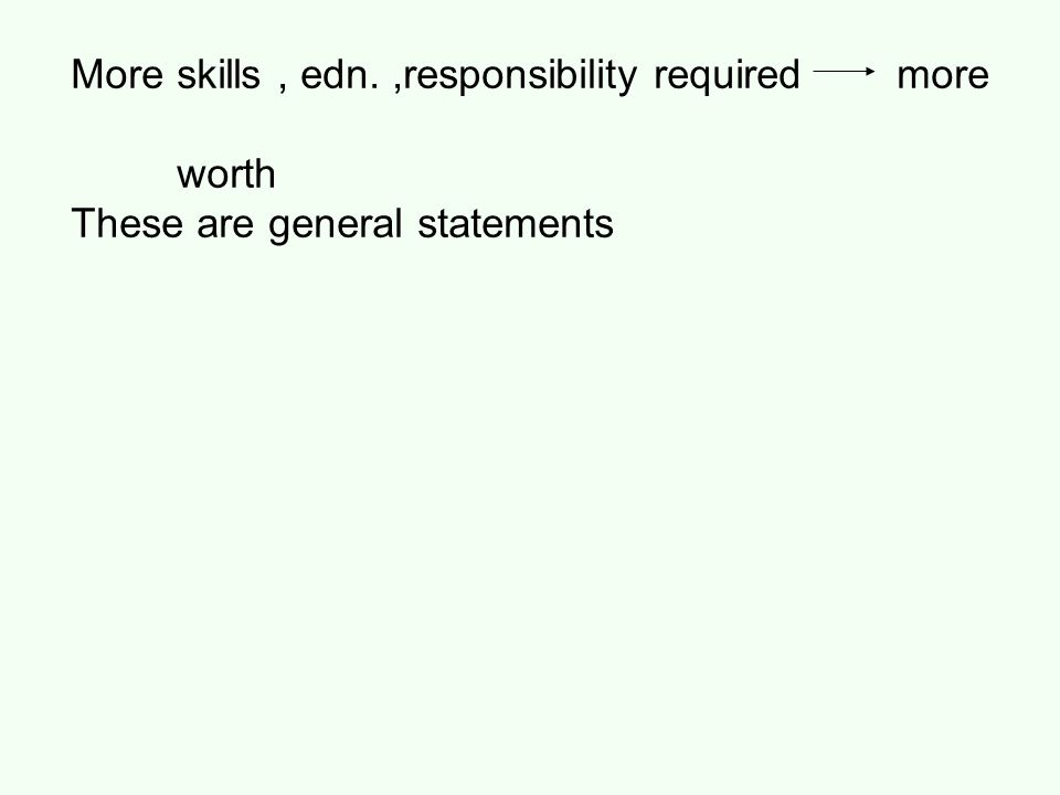 More skills, edn.,responsibility required more worth These are general statements