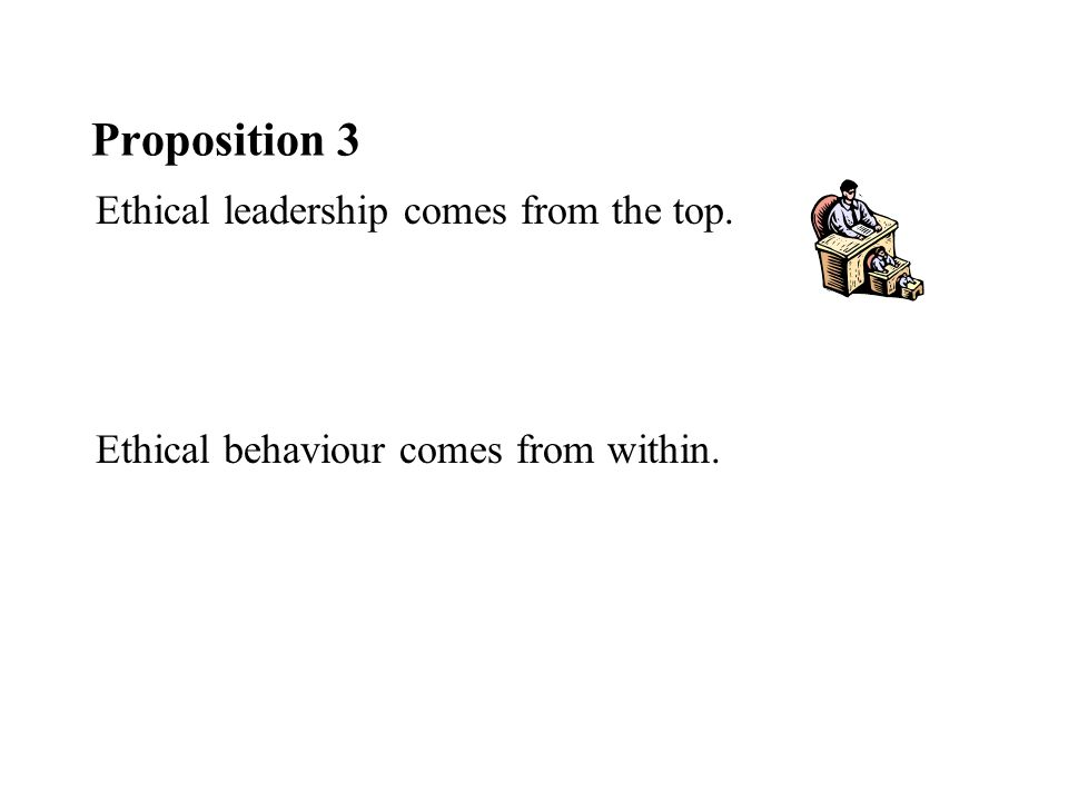 Proposition 3 Ethical leadership comes from the top. Ethical behaviour comes from within.