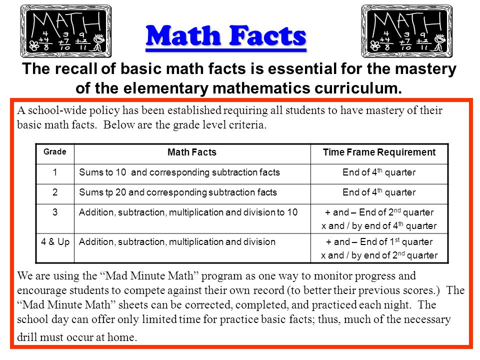 Math Facts The recall of basic math facts is essential for the mastery of the elementary mathematics curriculum. A school-wide policy has been establi