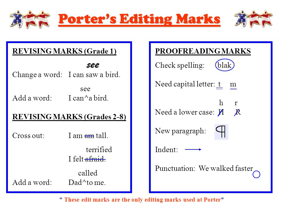 Porter's Editing Marks REVISING MARKS (Grade 1) see Change a word:I can saw a bird. see Add a word:I can^a bird. REVISING MARKS (Grades 2-8) Cross out