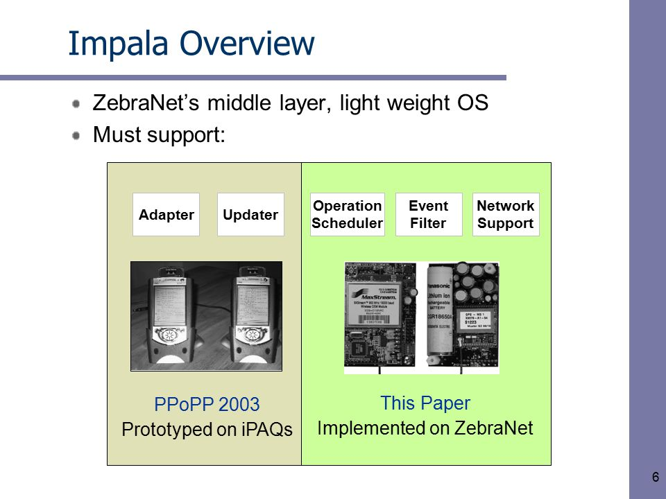6 –Software adaptation for sensor network performance –Software update for sensor network deployment –Operation scheduling for regular operations –Event handling for irregular events –Network support for sensor network communications This Paper Implemented on ZebraNet PPoPP 2003 Prototyped on iPAQs Impala Overview ZebraNet's middle layer, light weight OS Must support: AdapterUpdater Network Support Operation Scheduler Event Filter
