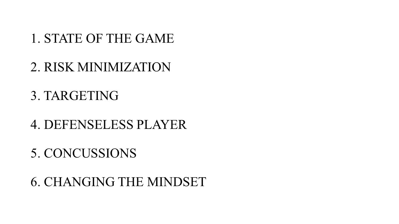 1. STATE OF THE GAME 2. RISK MINIMIZATION 3. TARGETING 4. DEFENSELESS PLAYER 5. CONCUSSIONS 6. CHANGING THE MINDSET