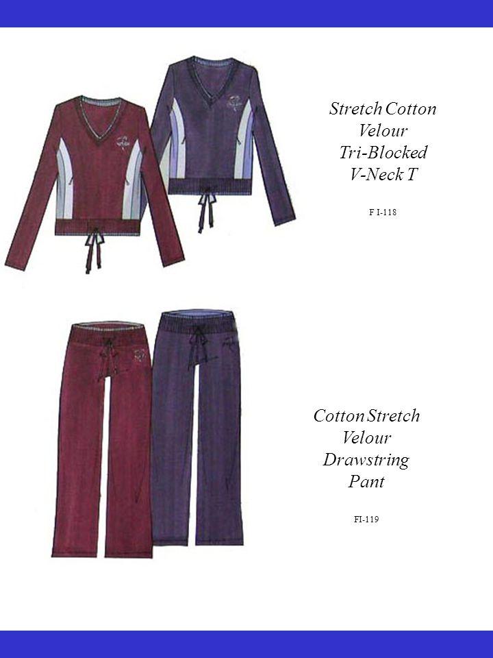 Stretch Cotton Velour Tri-Blocked V-Neck T F I-118 Cotton Stretch Velour Drawstring Pant FI-119