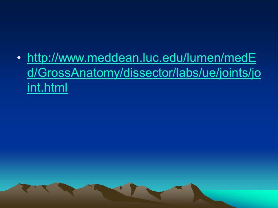 http://www.meddean.luc.edu/lumen/medE d/GrossAnatomy/dissector/labs/ue/joints/jo int.htmlhttp://www.meddean.luc.edu/lumen/medE d/GrossAnatomy/dissector/labs/ue/joints/jo int.html