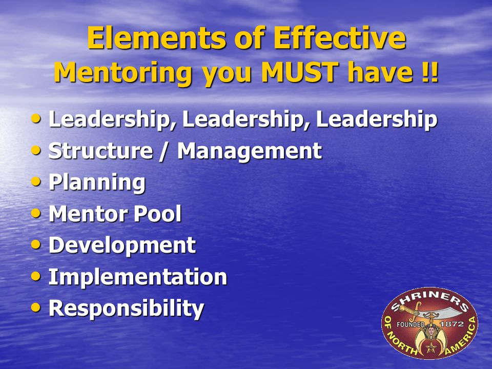 Elements of Effective Mentoring you MUST have !.