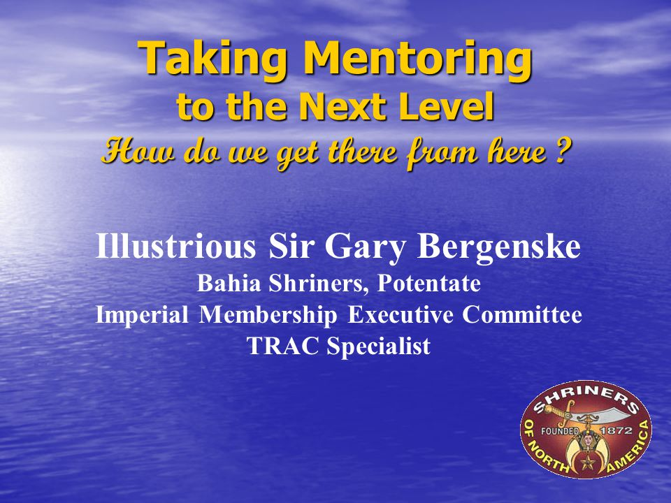 Taking Mentoring to the Next Level How do we get there from here .