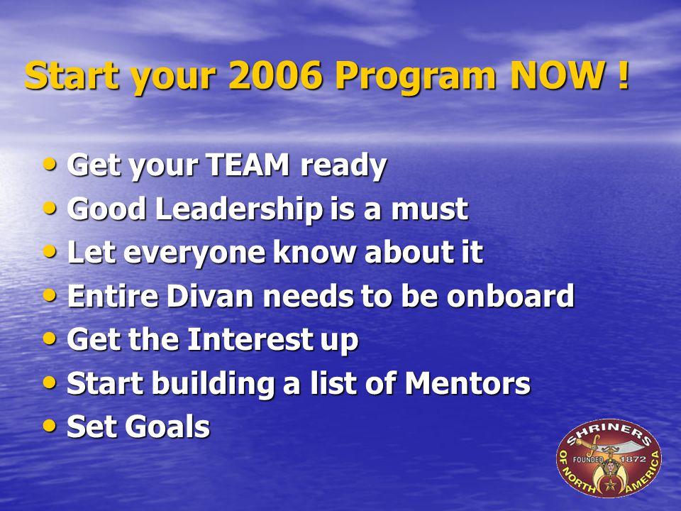 Start your 2006 Program NOW .