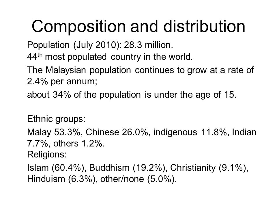 Composition and distribution Population (July 2010): 28.3 million. 44 th most populated country in the world. The Malaysian population continues to gr