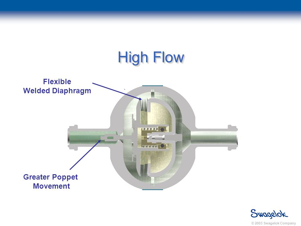 © 2003 Swagelok Company High Flow Flexible Welded Diaphragm Greater Poppet Movement