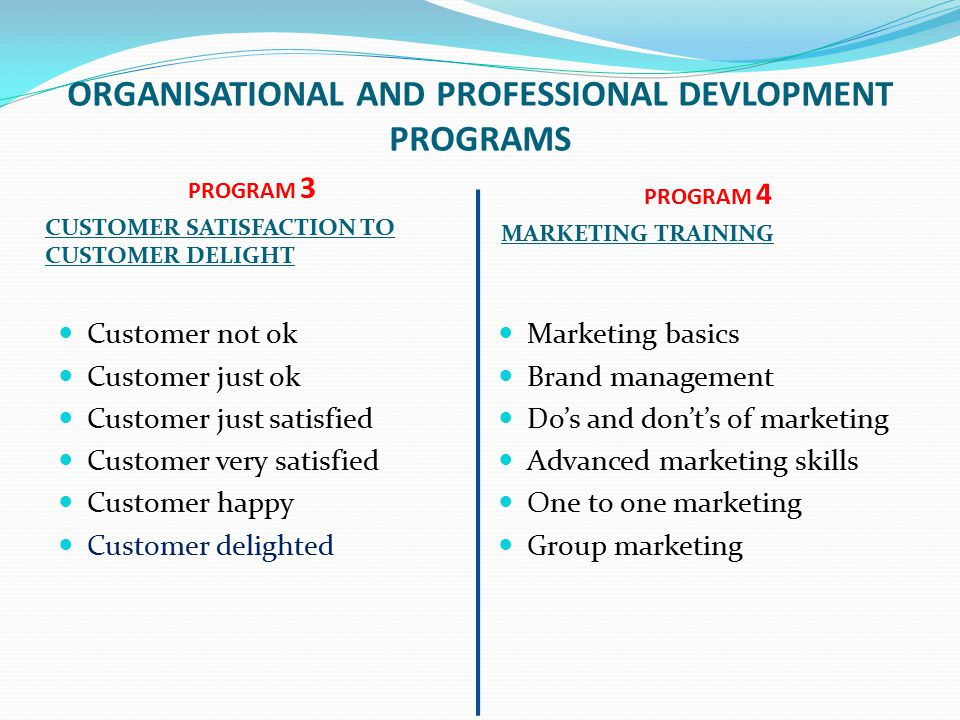 ORGANISATIONAL AND PROFESSIONAL DEVLOPMENT PROGRAMS PROGRAM 3 CUSTOMER SATISFACTION TO CUSTOMER DELIGHT PROGRAM 4 MARKETING TRAINING Customer not ok Customer just ok Customer just satisfied Customer very satisfied Customer happy Customer delighted Marketing basics Brand management Do's and don't's of marketing Advanced marketing skills One to one marketing Group marketing