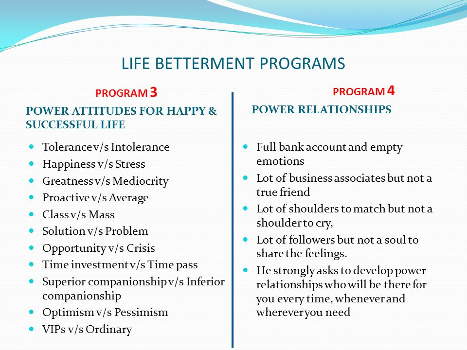 LIFE BETTERMENT PROGRAMS PROGRAM 3 POWER ATTITUDES FOR HAPPY & SUCCESSFUL LIFE PROGRAM 4 POWER RELATIONSHIPS Tolerance v/s Intolerance Happiness v/s Stress Greatness v/s Mediocrity Proactive v/s Average Class v/s Mass Solution v/s Problem Opportunity v/s Crisis Time investment v/s Time pass Superior companionship v/s Inferior companionship Optimism v/s Pessimism VIPs v/s Ordinary Full bank account and empty emotions Lot of business associates but not a true friend Lot of shoulders to match but not a shoulder to cry, Lot of followers but not a soul to share the feelings.