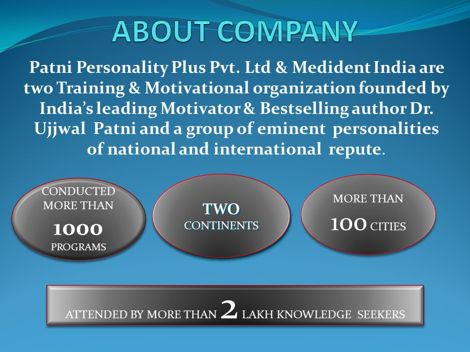 PROFILE OF THE CHIEF MENTOR DR.UJJWAL PATNI  Founder of Patni Personality Plus Pvt.