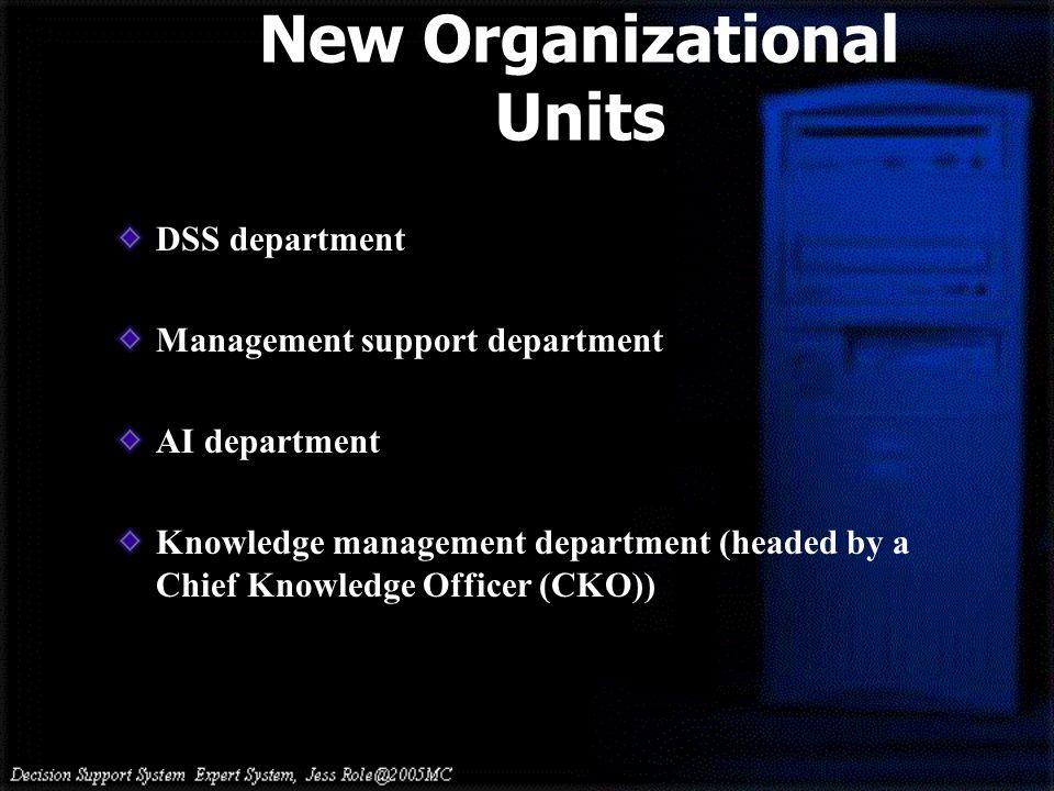 New Organizational Units DSS department Management support department AI department Knowledge management department (headed by a Chief Knowledge Officer (CKO))