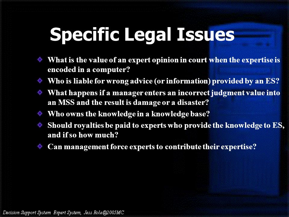 What is the value of an expert opinion in court when the expertise is encoded in a computer? Who is liable for wrong advice (or information) provided