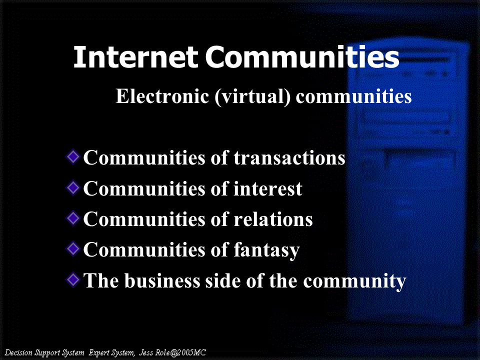 Internet Communities Electronic (virtual) communities Communities of transactions Communities of interest Communities of relations Communities of fantasy The business side of the community