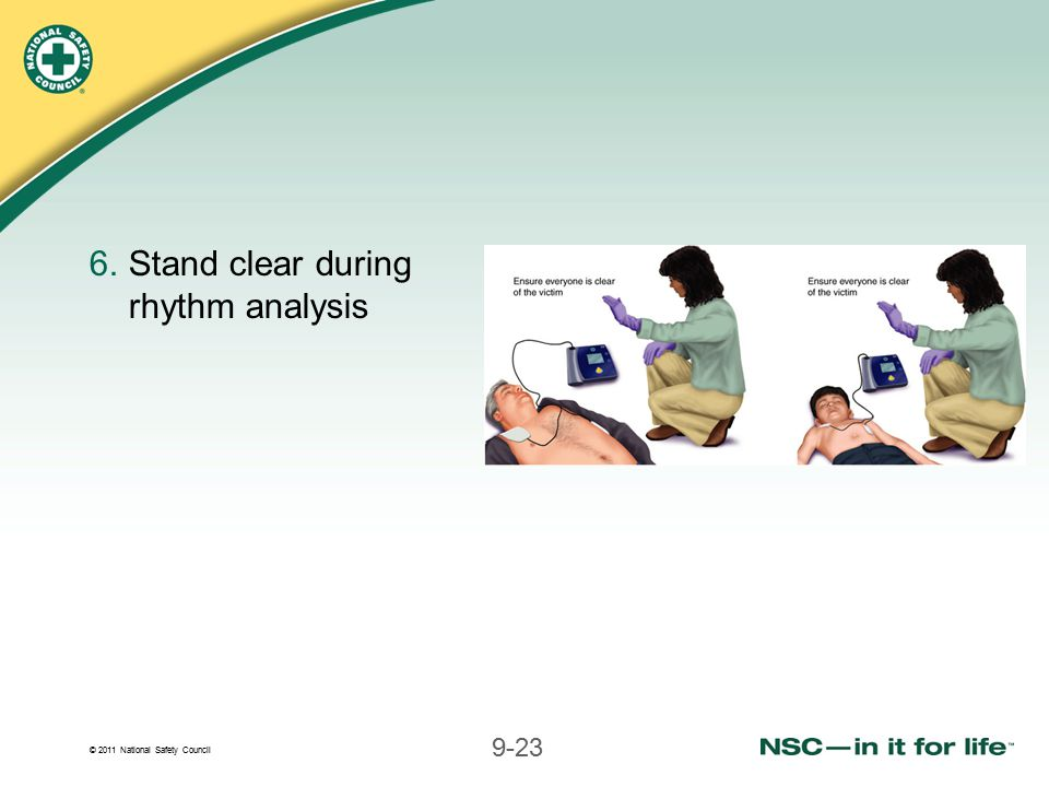 © 2011 National Safety Council 9-23 6.Stand clear during rhythm analysis