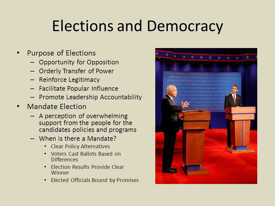 Elections and Democracy Purpose of Elections – Opportunity for Opposition – Orderly Transfer of Power – Reinforce Legitimacy – Facilitate Popular Infl