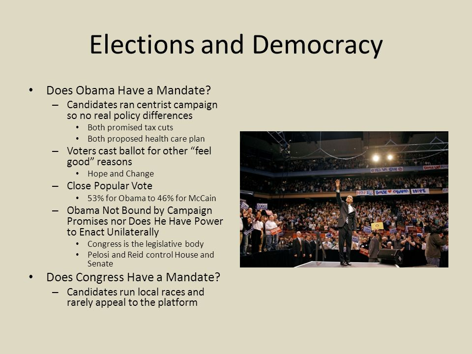 Elections and Democracy Does Obama Have a Mandate.