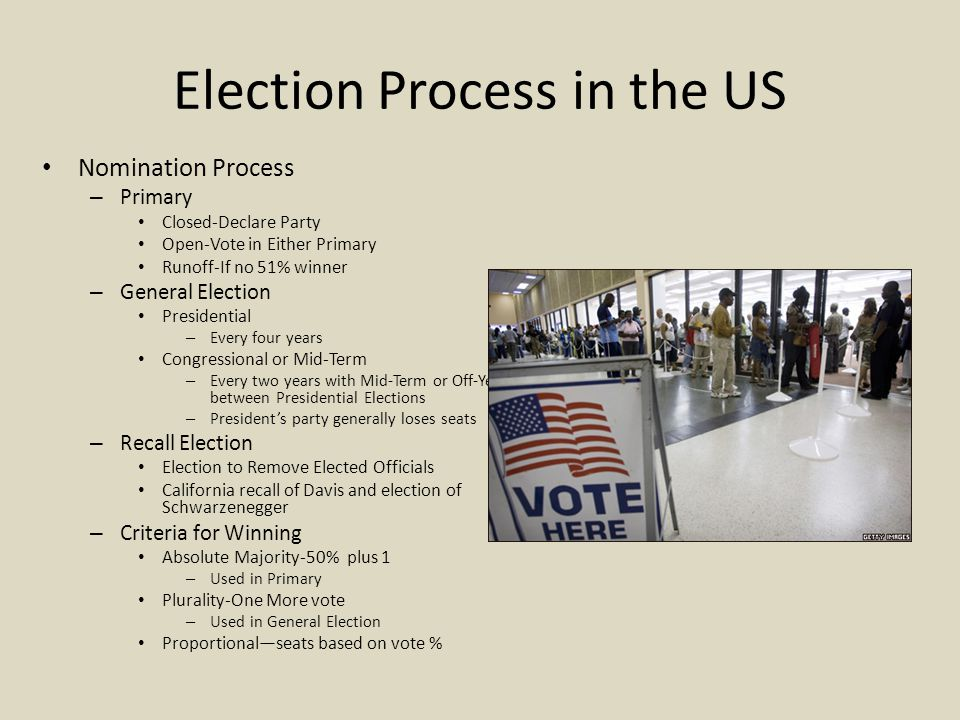Election Process in the US Nomination Process – Primary Closed-Declare Party Open-Vote in Either Primary Runoff-If no 51% winner – General Election Presidential – Every four years Congressional or Mid-Term – Every two years with Mid-Term or Off-Year between Presidential Elections – President's party generally loses seats – Recall Election Election to Remove Elected Officials California recall of Davis and election of Schwarzenegger – Criteria for Winning Absolute Majority-50% plus 1 – Used in Primary Plurality-One More vote – Used in General Election Proportional—seats based on vote %