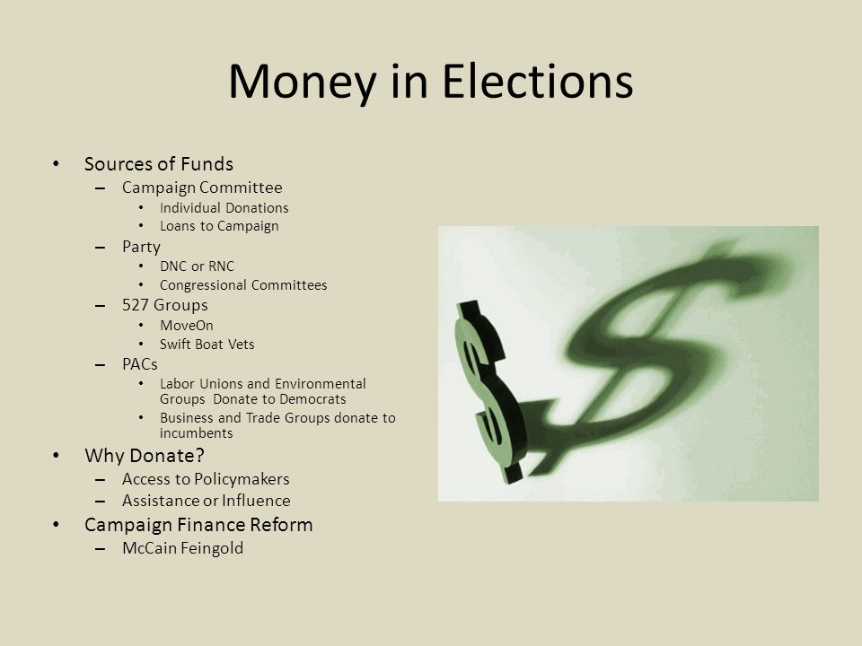 Sources of Funds – Campaign Committee Individual Donations Loans to Campaign – Party DNC or RNC Congressional Committees – 527 Groups MoveOn Swift Boa