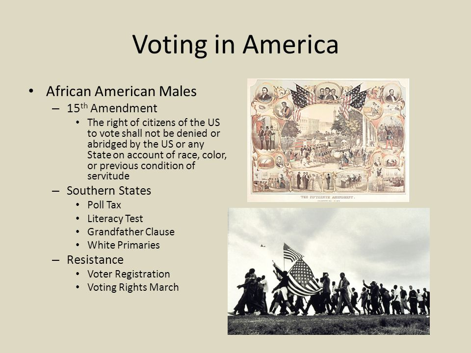 Voting in America African American Males – 15 th Amendment The right of citizens of the US to vote shall not be denied or abridged by the US or any State on account of race, color, or previous condition of servitude – Southern States Poll Tax Literacy Test Grandfather Clause White Primaries – Resistance Voter Registration Voting Rights March
