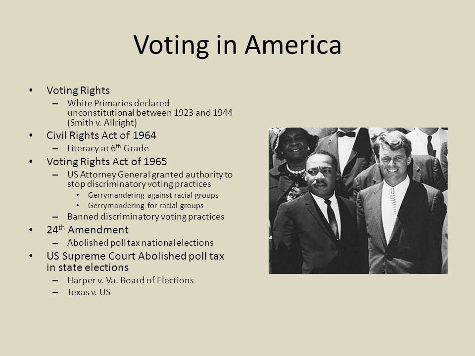 Voting in America Voting Rights – White Primaries declared unconstitutional between 1923 and 1944 (Smith v.