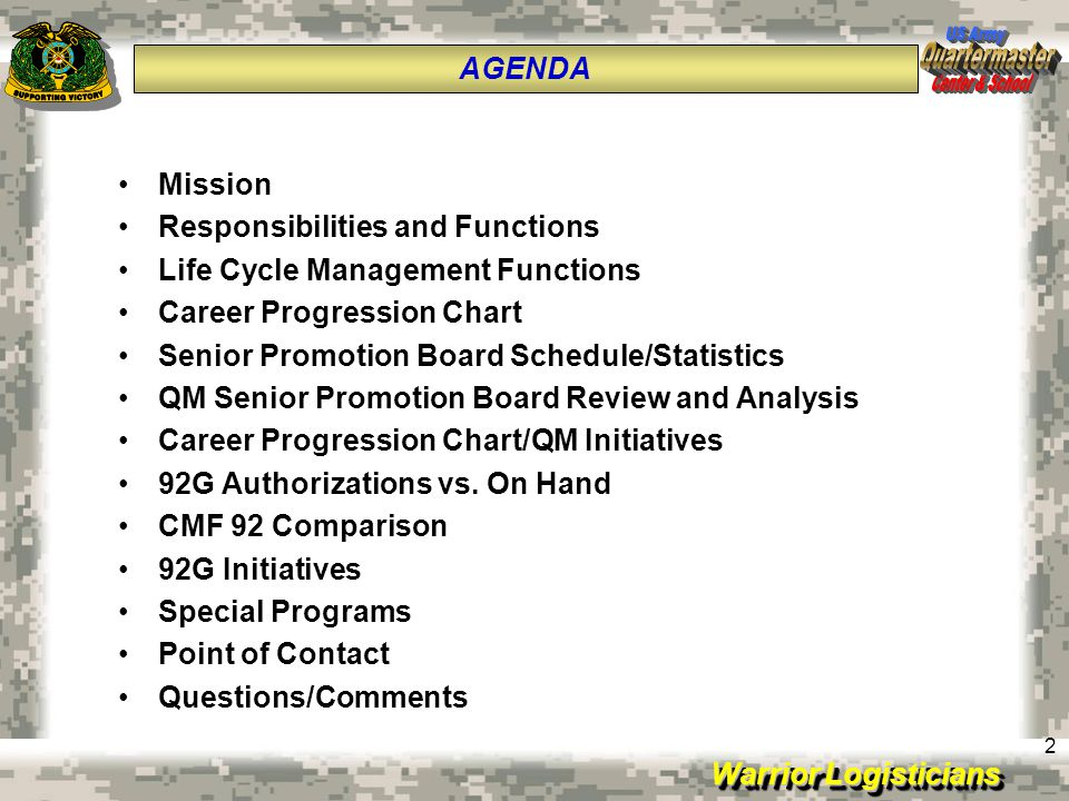 Warrior Logisticians 2 Mission Responsibilities and Functions Life Cycle Management Functions Career Progression Chart Senior Promotion Board Schedule