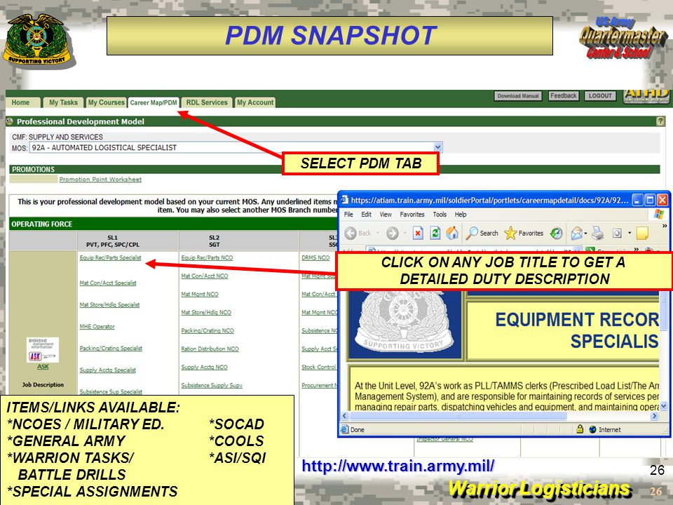 Warrior Logisticians 26 PDM SNAPSHOT http://www.train.army.mil/ SELECT PDM TAB CLICK ON ANY JOB TITLE TO GET A DETAILED DUTY DESCRIPTION ITEMS/LINKS A