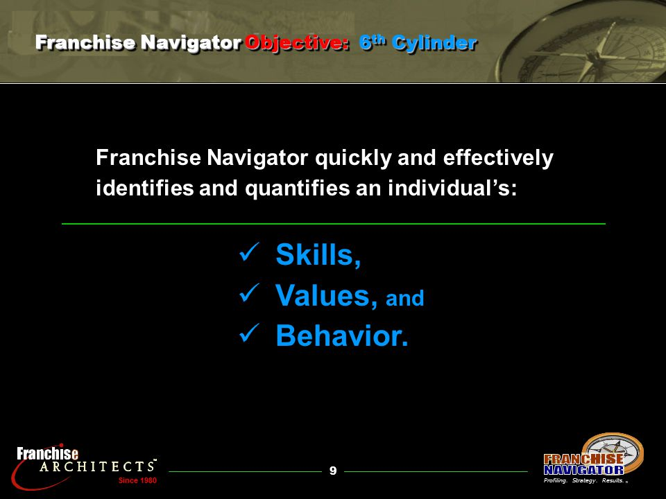 9 ® Since 1980 Franchise Navigator quickly and effectively identifies and quantifies an individual's: Skills, Values, and Behavior.