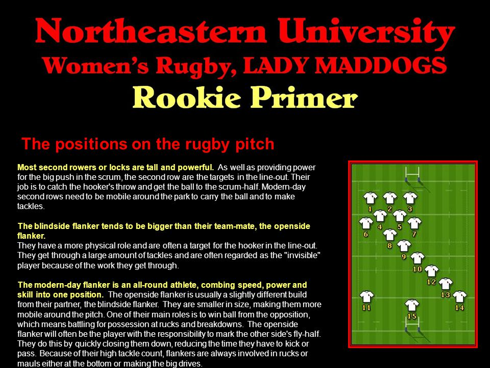The positions on the rugby pitch Most second rowers or locks are tall and powerful.