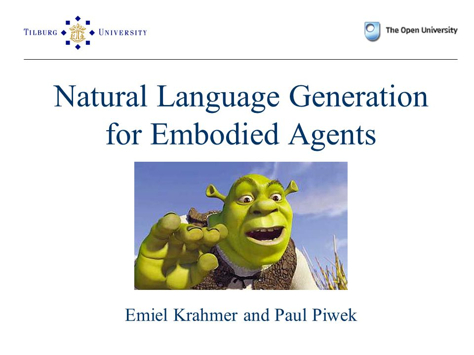 Done 1.Introduction: NLG for Embodied Agents 2. What is Natural Language Generation.