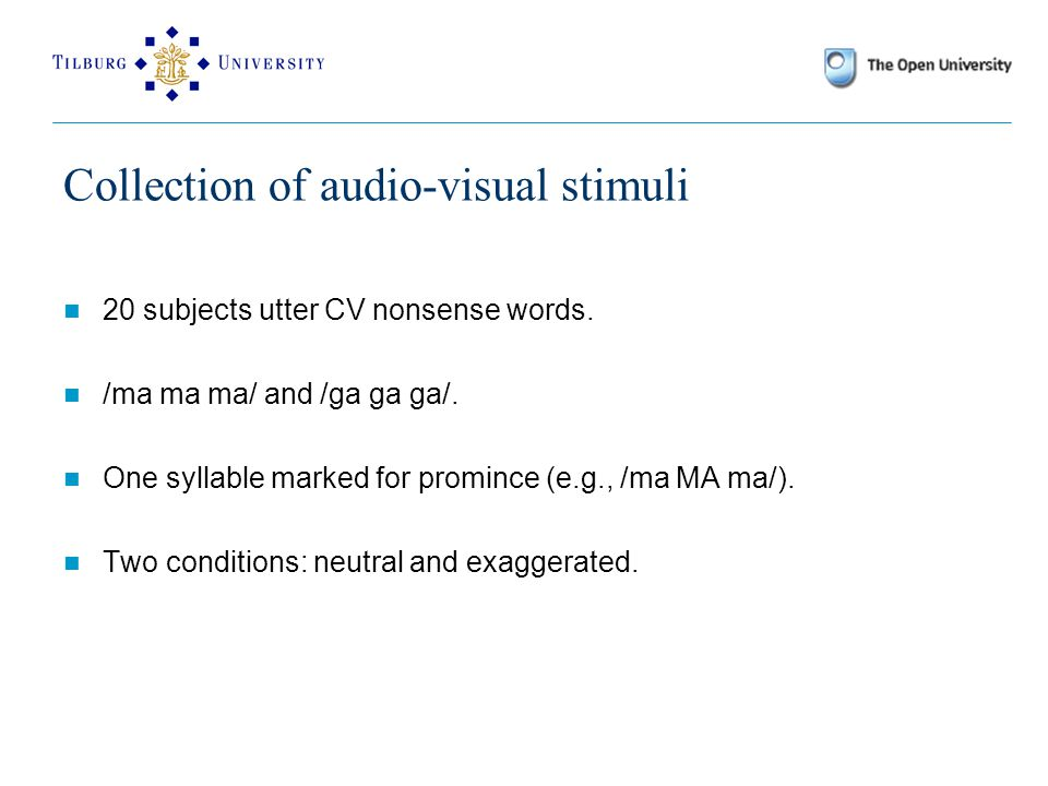 Collection of audio-visual stimuli 20 subjects utter CV nonsense words.