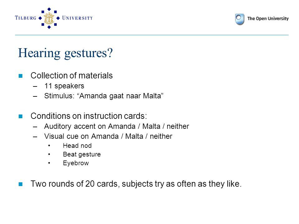 Hearing gestures.