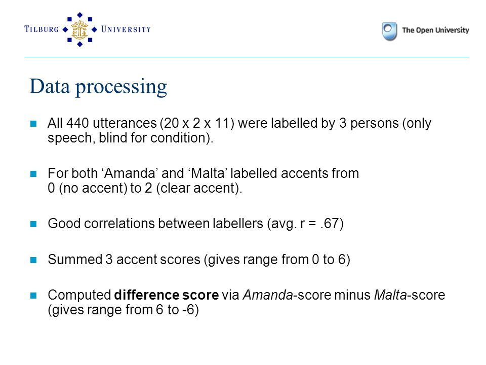 Data processing All 440 utterances (20 x 2 x 11) were labelled by 3 persons (only speech, blind for condition).