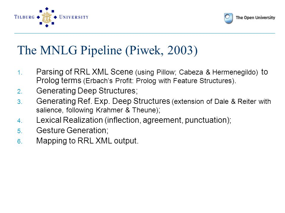 The MNLG Pipeline (Piwek, 2003) 1.