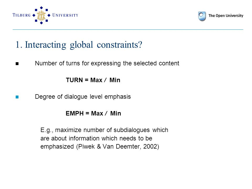 1. Interacting global constraints.