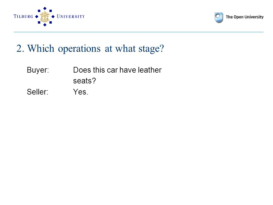 2. Which operations at what stage? Buyer: Does this car have leather seats? Seller: Yes.