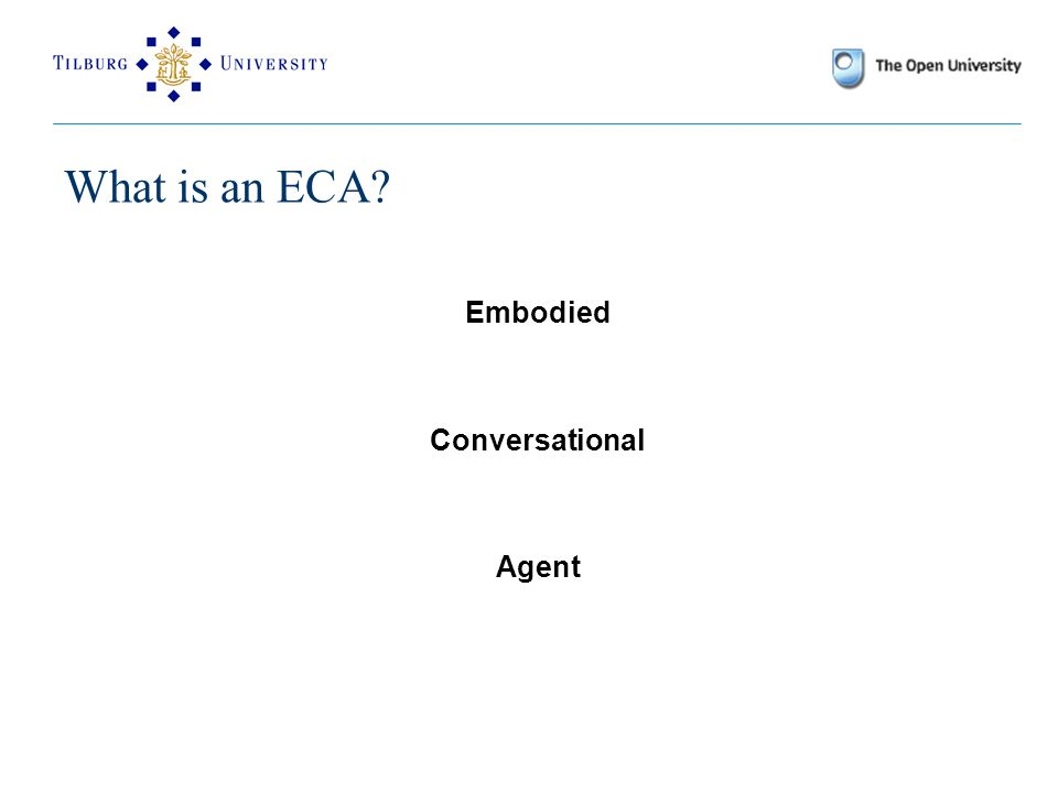 What is an ECA? Embodied Conversational Agent