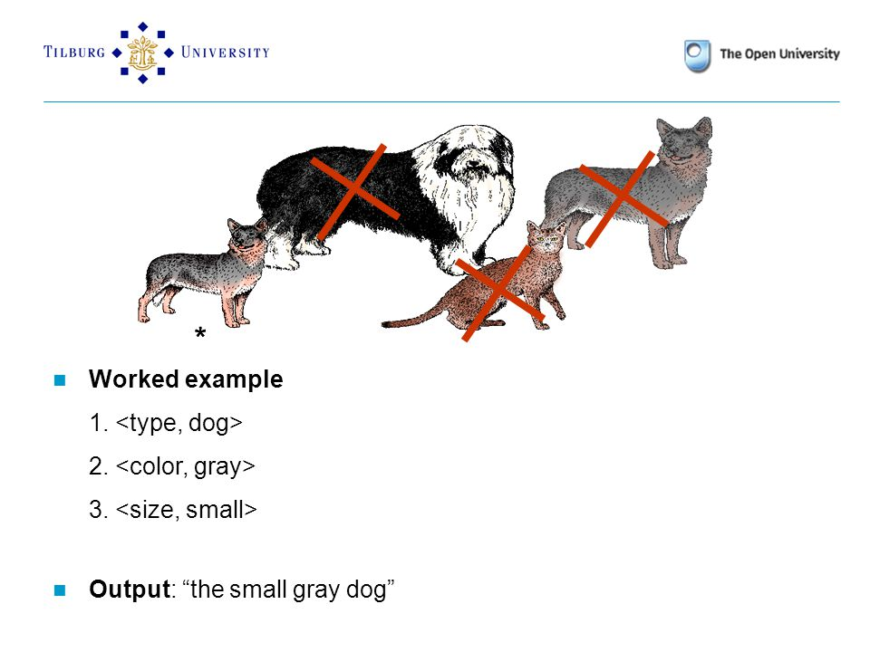 * * Worked example 1. 2. 3. Output: the small gray dog