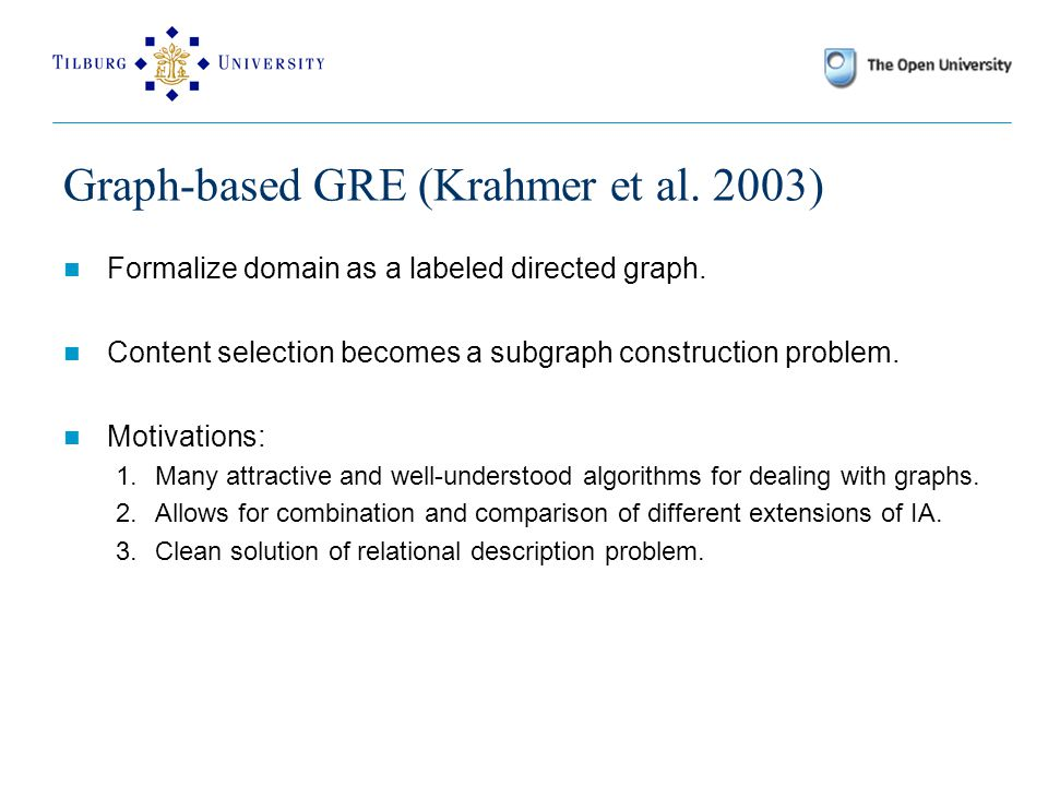 Graph-based GRE (Krahmer et al. 2003) Formalize domain as a labeled directed graph.