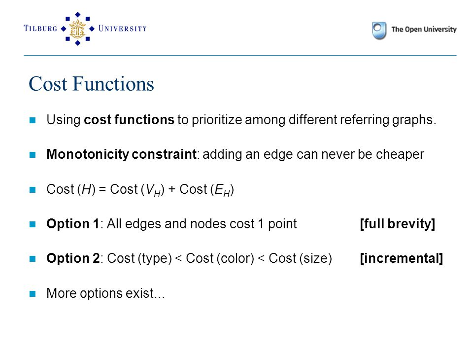 Cost Functions Using cost functions to prioritize among different referring graphs.