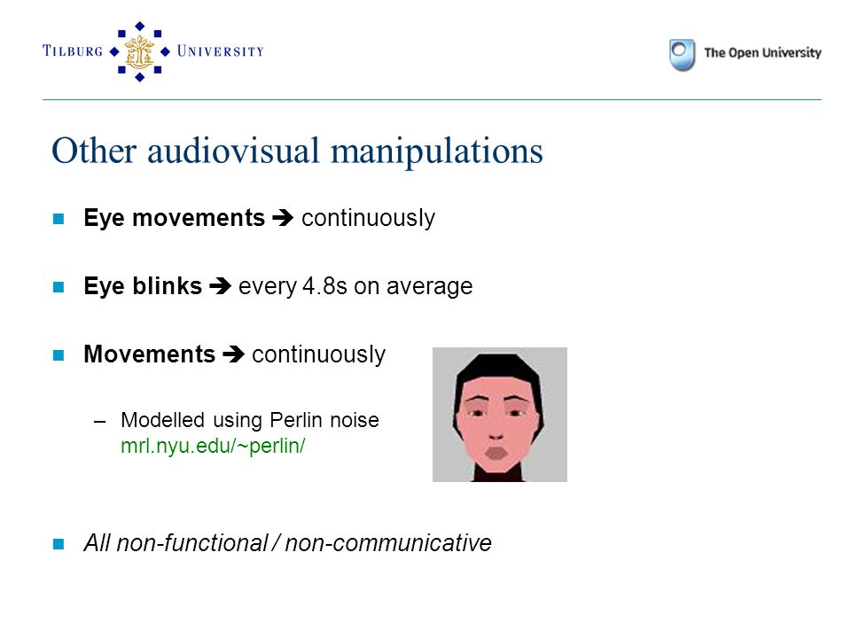 Other audiovisual manipulations Eye movements  continuously Eye blinks  every 4.8s on average Movements  continuously –Modelled using Perlin noise mrl.nyu.edu/~perlin/ All non-functional / non-communicative