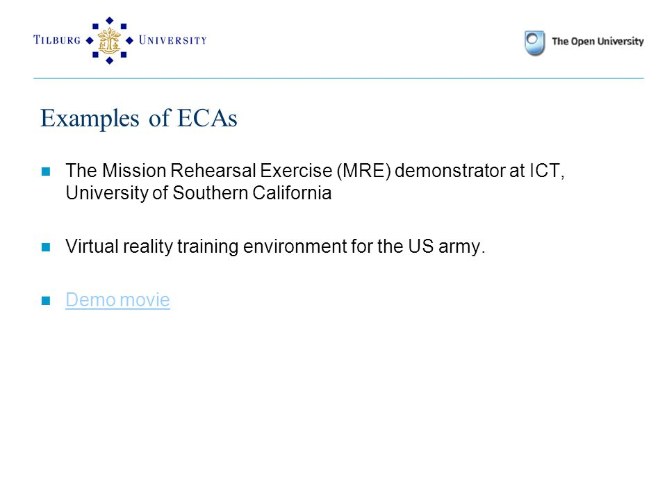 Examples of ECAs Web persona (WIP/PPP); Andre, Mueller & Rist, 1997).