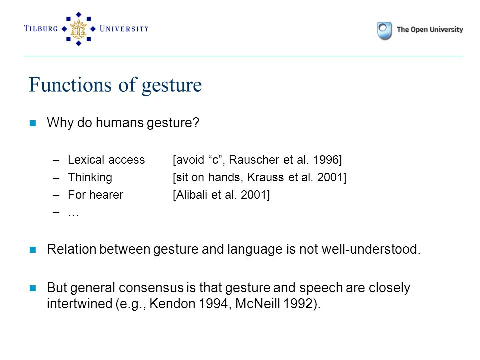 Functions of gesture Why do humans gesture. –Lexical access [avoid c , Rauscher et al.