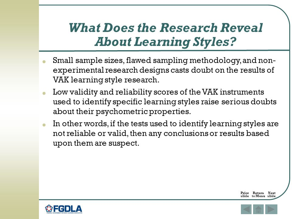What Does the Research Reveal About Learning Styles.