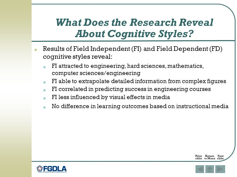 What Does the Research Reveal About Cognitive Styles.
